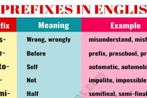 35 Most Common Prefixes in English with their Meanings 25
