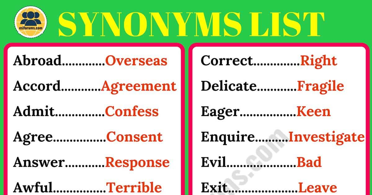 Synonyms: List of 200 Synonyms in English for ESL Learners