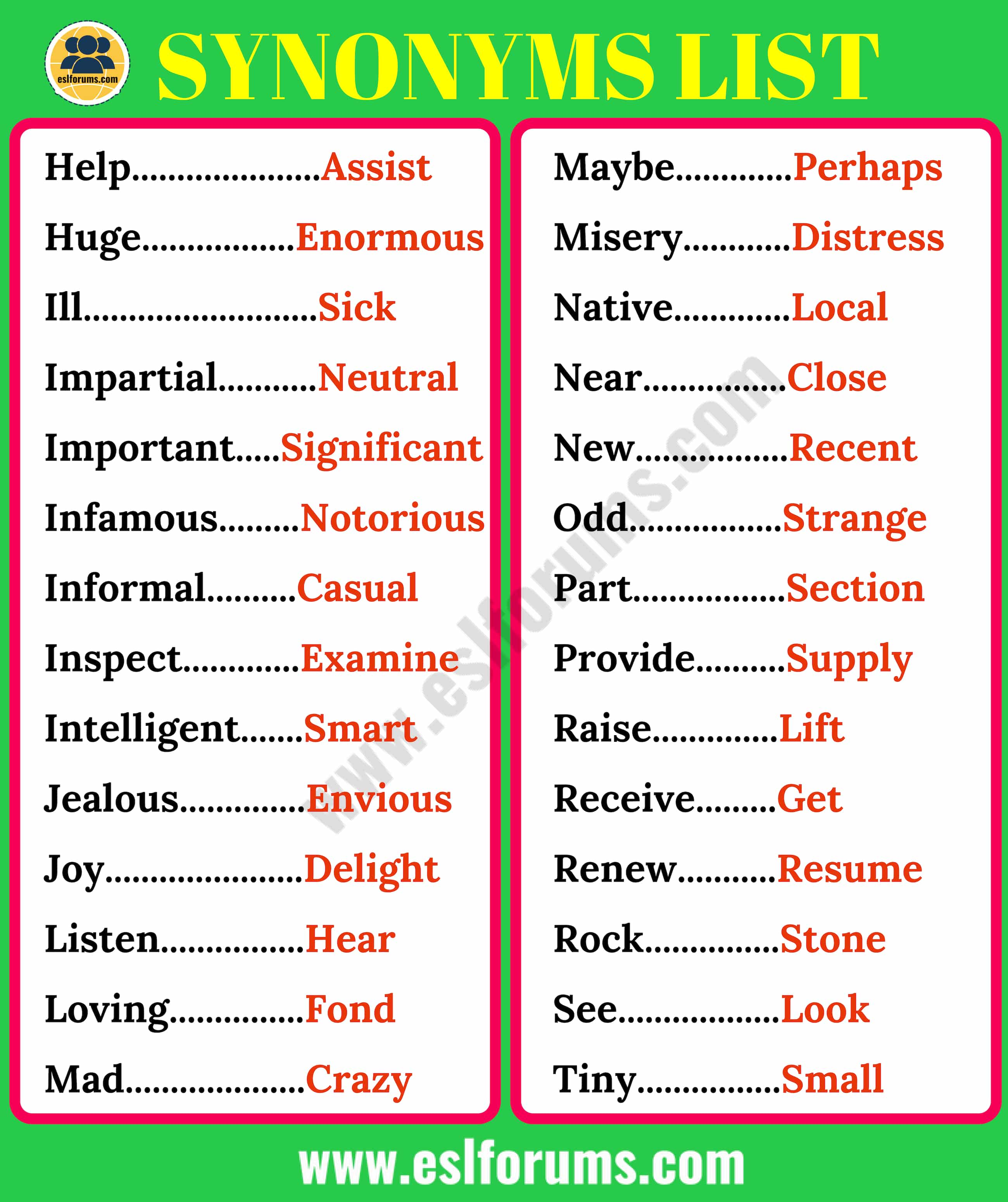 Synonyms List Of 200 Synonyms In English For Esl Learners Esl Forums Best synonyms for 'very lucky' are 'best of luck', 'much luck' and 'really lucky'. list of 200 synonyms in english for esl