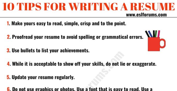 Resume Tips How To Write A Professional Resume Esl Forums