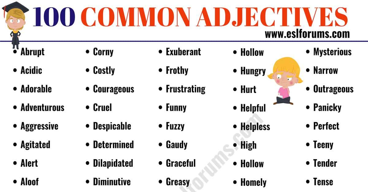 Common Adjectives: List of 100 Useful Adjectives in English 2