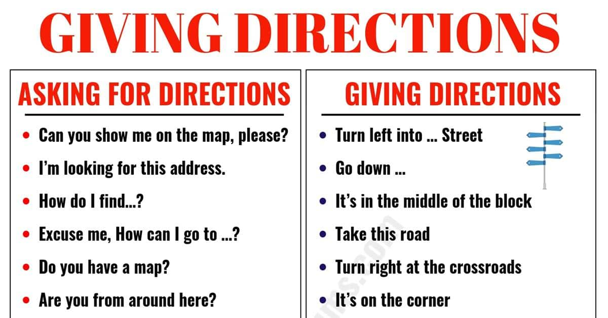 Asking for and Giving Directions in English 1
