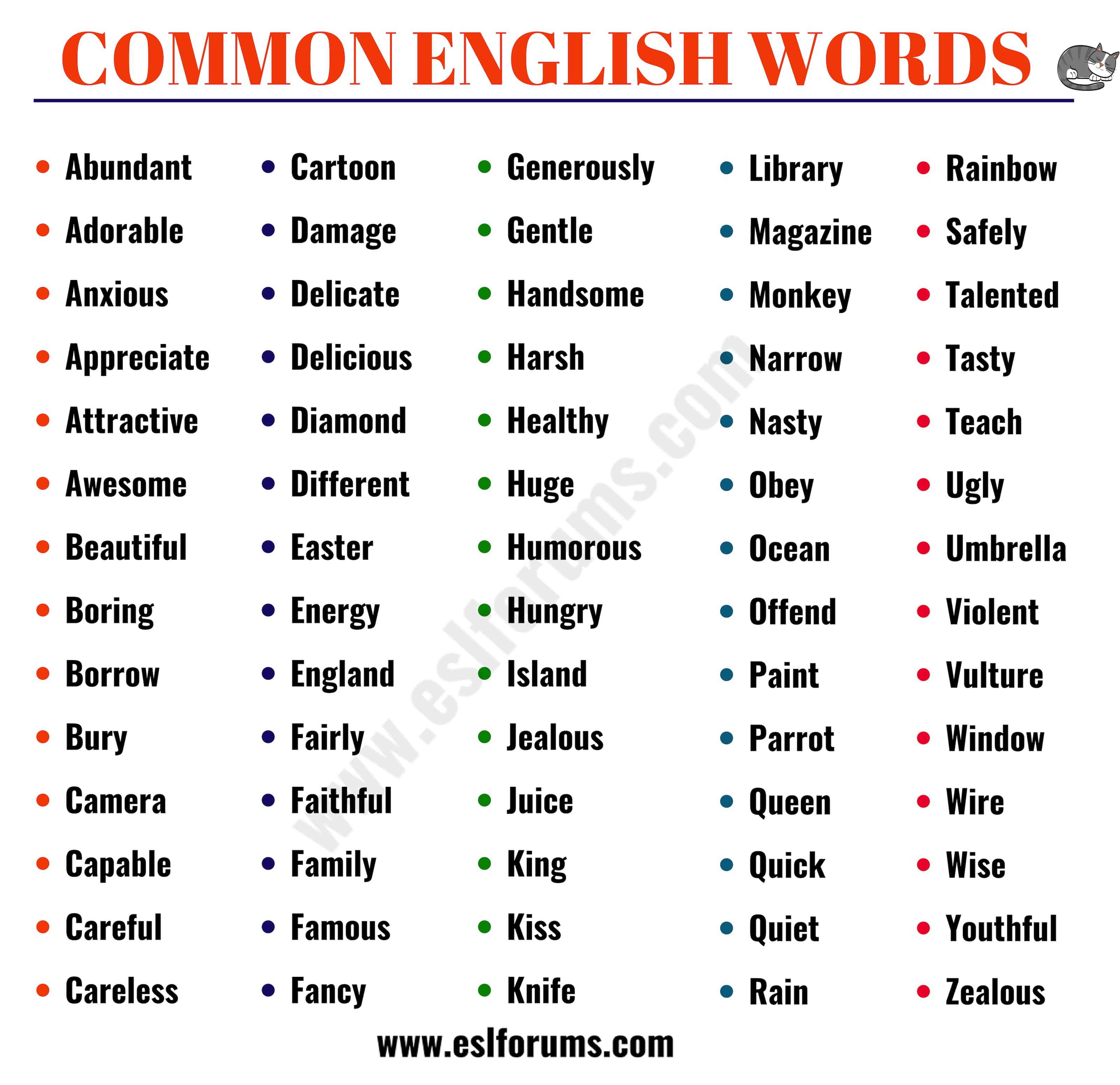 List of 700+ Most Common English Words Everyone Should Learn! - ESL