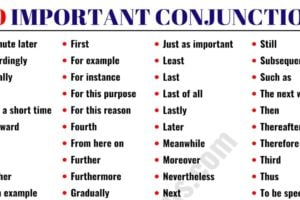 List of Conjunctions: 100 Important Conjunctions in English 10