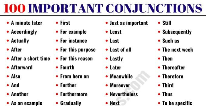List of Conjunctions: 100 Important Conjunctions in English 1