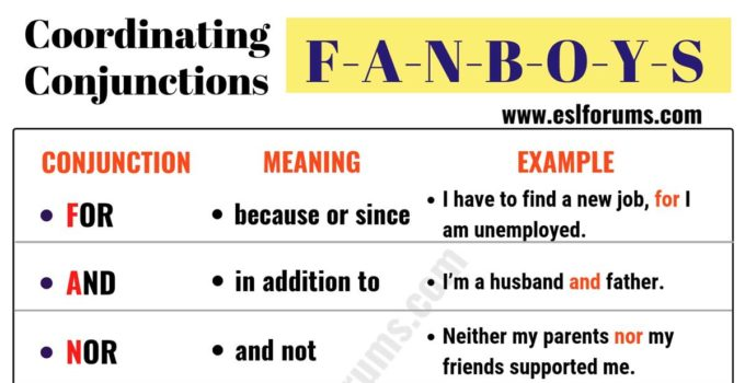 FANBOYS: 7 Important Coordinating Conjunctions 4