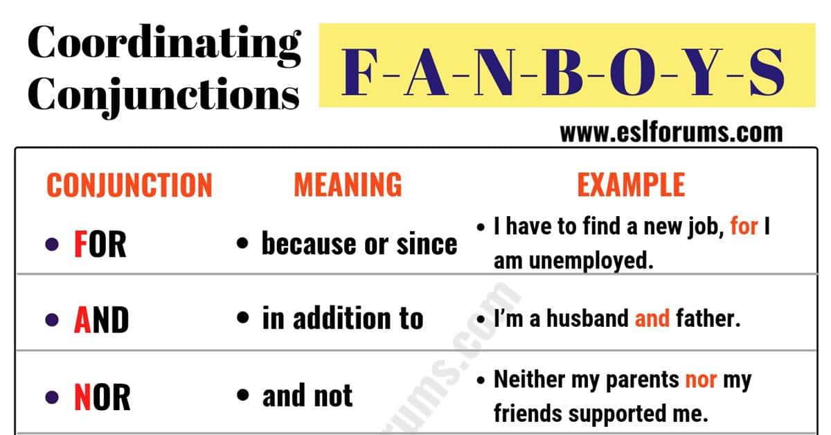 FANBOYS: 7 Important Coordinating Conjunctions 7