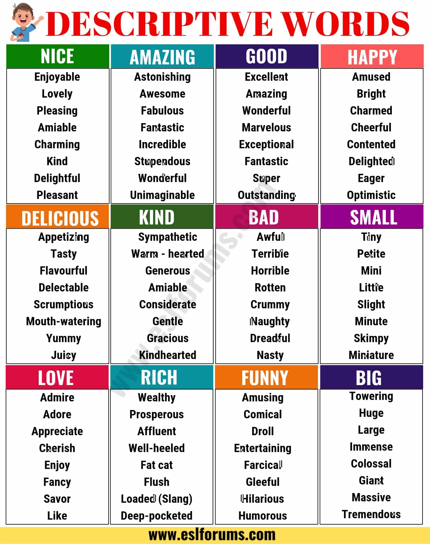 A List of Descriptive Adjectives | Art classroom, Art ... |Describing Nouns List