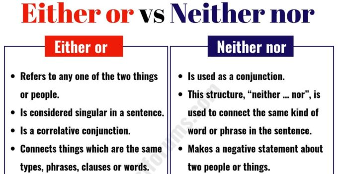 """Either or"" vs ""Neither Nor"": How to Use Them Correctly? 1"