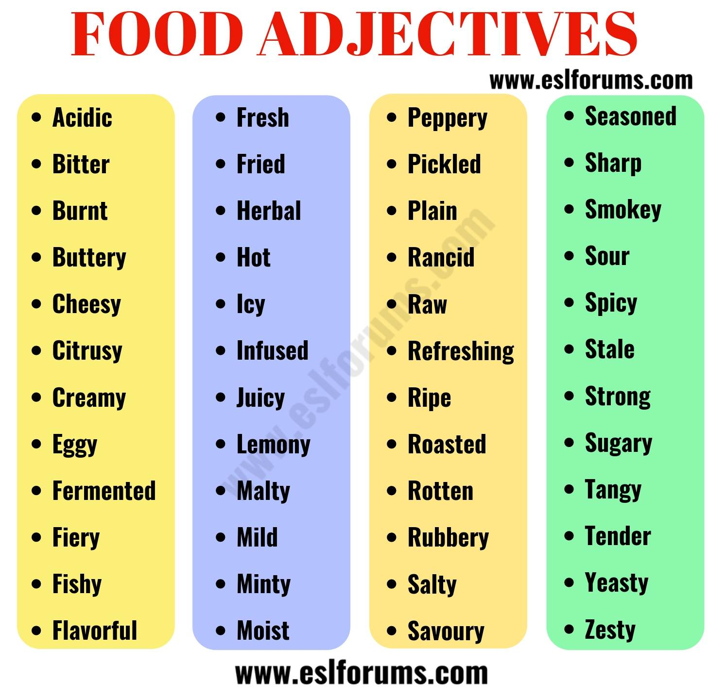 FOOD Adjectives: 48 Useful Words to Describe FOOD in English