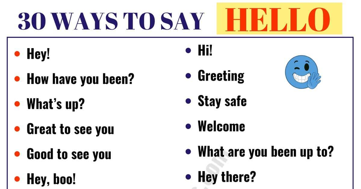 30 Different Ways to Say HELLO! | HELLO Synonyms 13