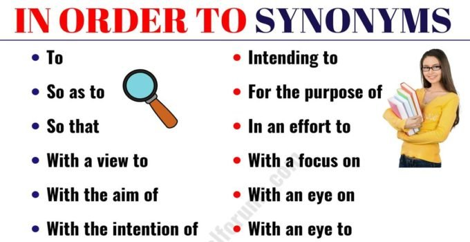 IN ORDER TO Synonym: 18 Synonyms for IN ORDER TO with Examples 1