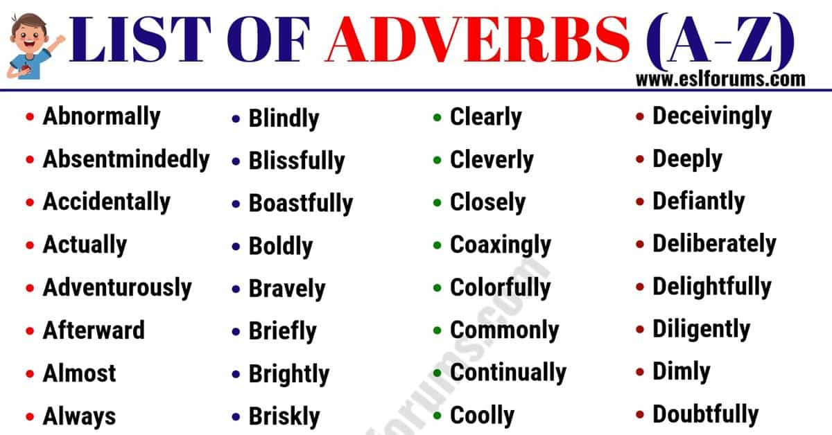 List of Adverbs: 300+ Adverb Examples from A-Z in English 1