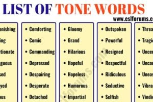 TONE Words: List of 300+ Useful Words to Describe TONE of the Authors 10