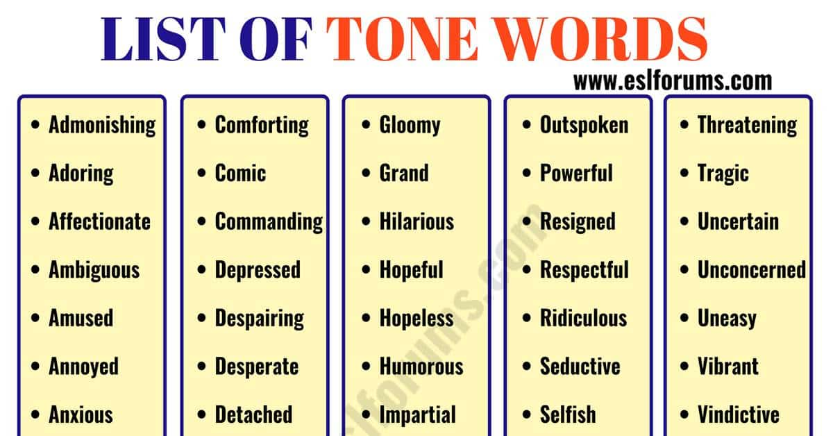 TONE Words: List of 300+ Useful Words to Describe TONE of the Authors 6