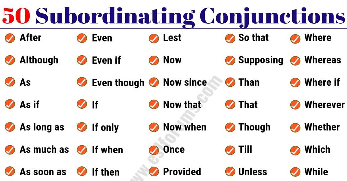 50 Important Subordinating Conjunctions in English Grammar 1
