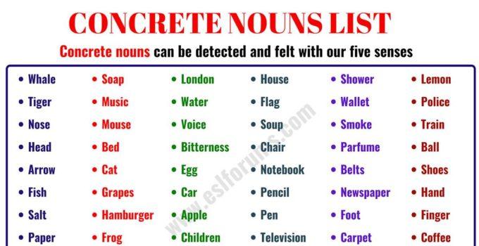 Concrete Noun: Important List of 60 Concrete Nouns in English 1