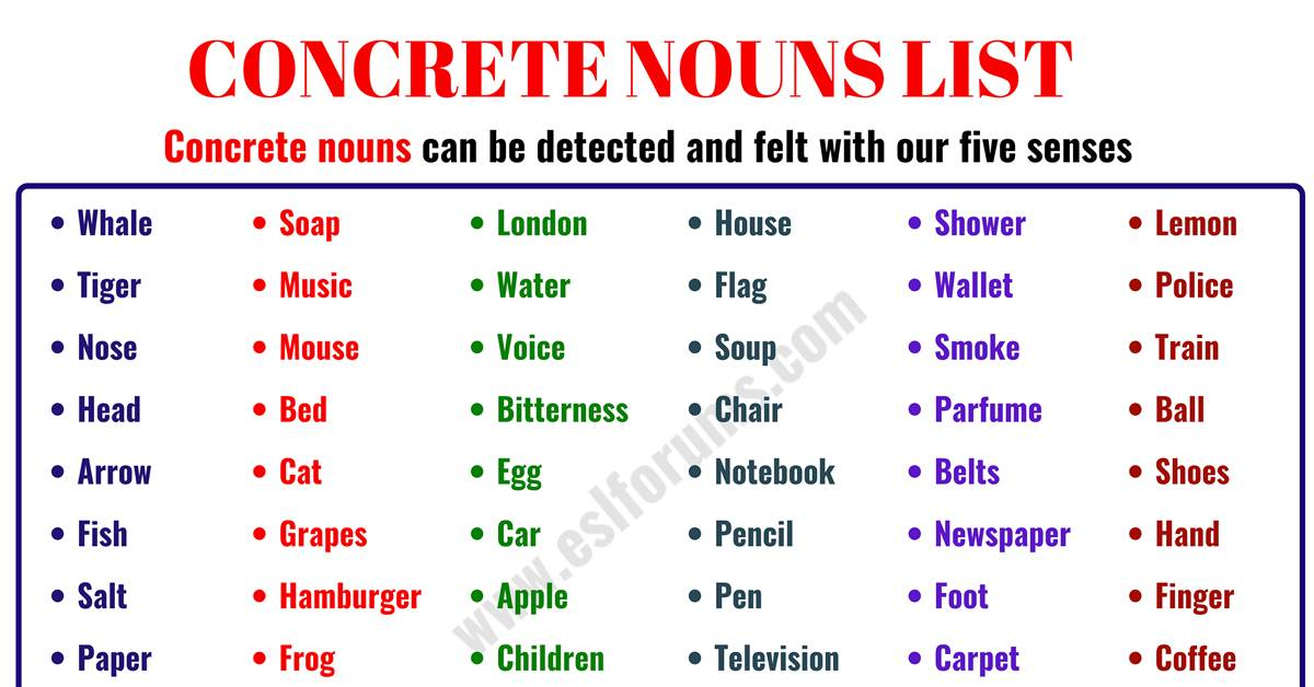 Concrete Noun: Important List of 60 Concrete Nouns in English 1