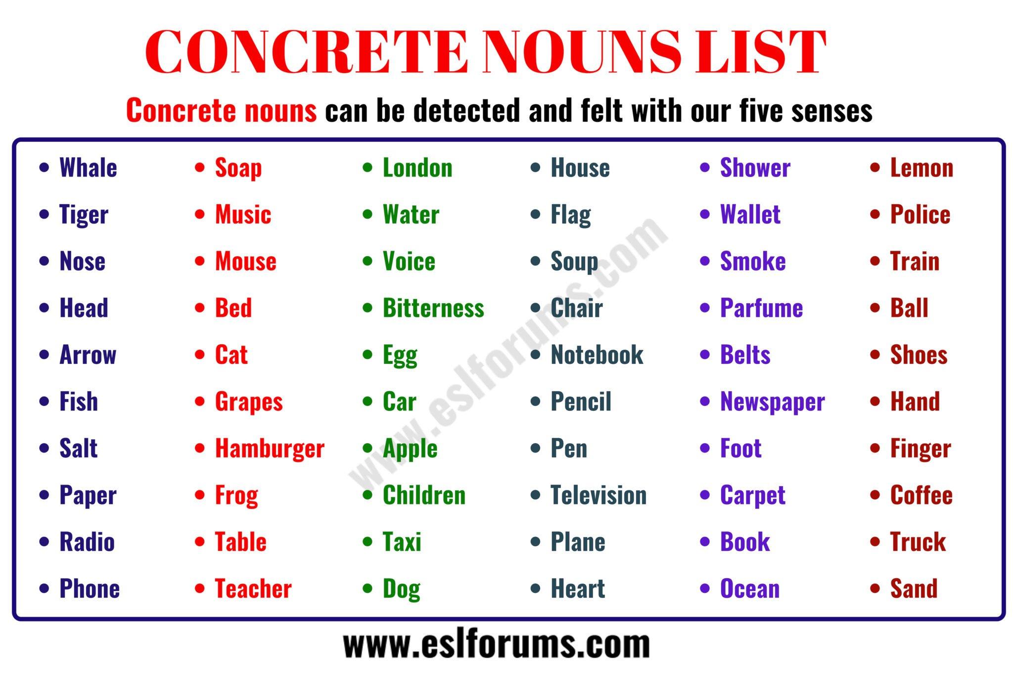 Concrete Noun: Important List of 60 Common Concrete Nouns in English