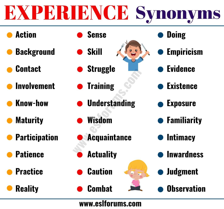 EXPERIENCE Synonym