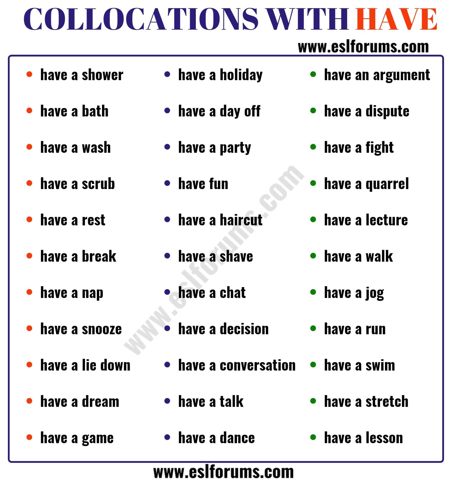 Collocations with the Verb HAVE