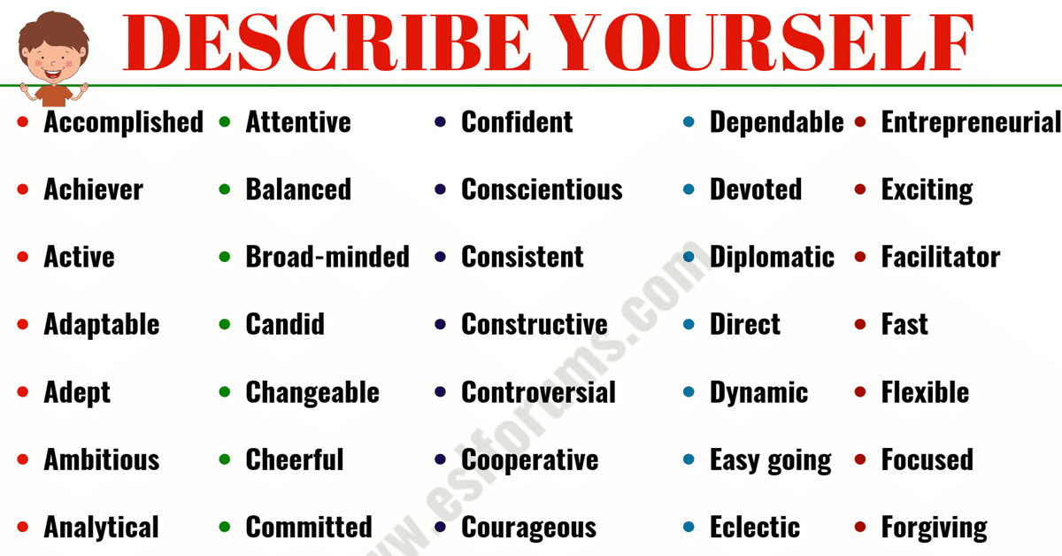 Top 200+ Best Words to Describe Yourself! 1