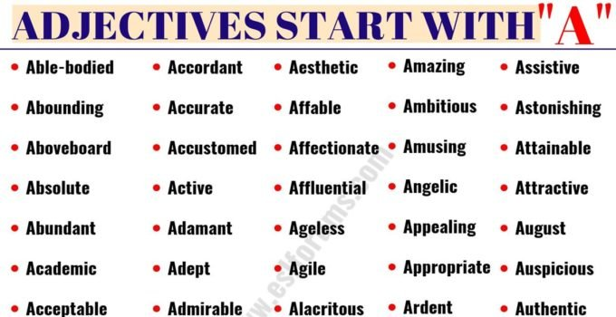 Words That Start With A | List of 50 Important Adjectives That Start with A 5