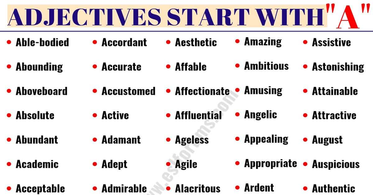 Adjectives That Start with A | List of 200+ Important Words that Start with A 1