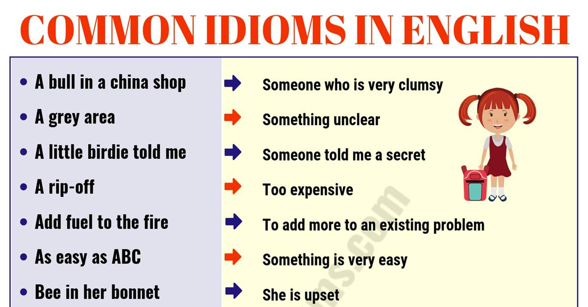 Top 60 Interesting Idioms for Kids with their Meaning! 9