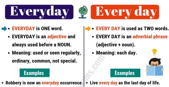 EVERYDAY vs EVERY DAY: How to Use Every day vs Everyday Correctly? 3