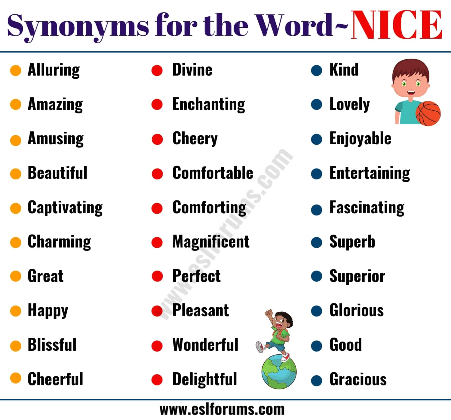 Words to Use Instead of NICE: 50 Useful Synonyms for NICE with Examples
