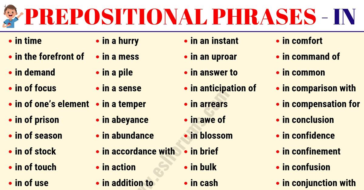 A Huge List of 222 Prepositional Phrases with IN in English 4