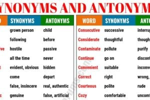 Synonyms and Antonyms of 160+ Common Words in English 9
