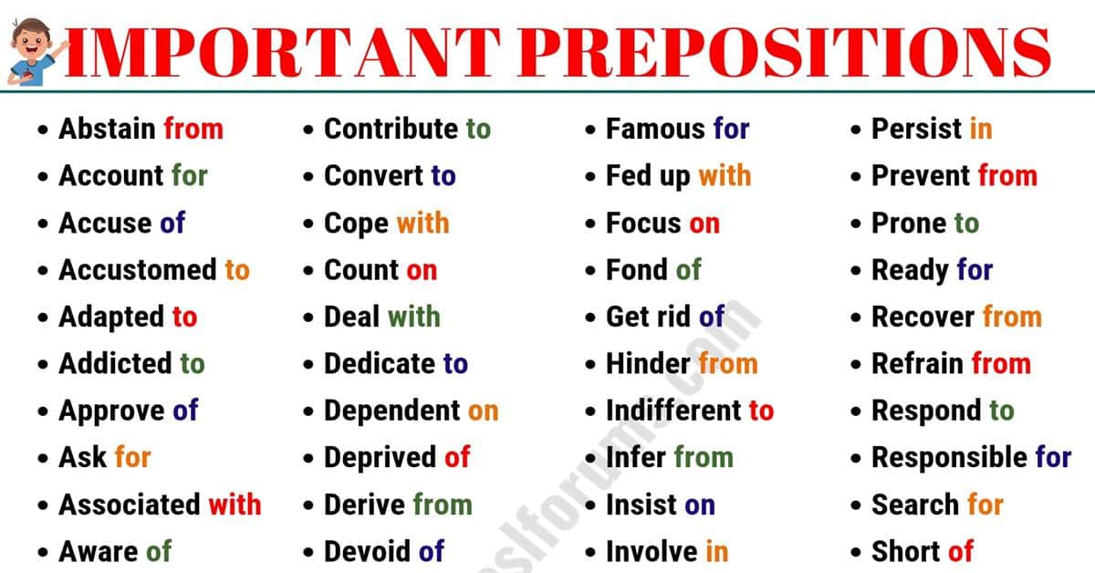 List of 75 Common Prepositions with Examples in English 4