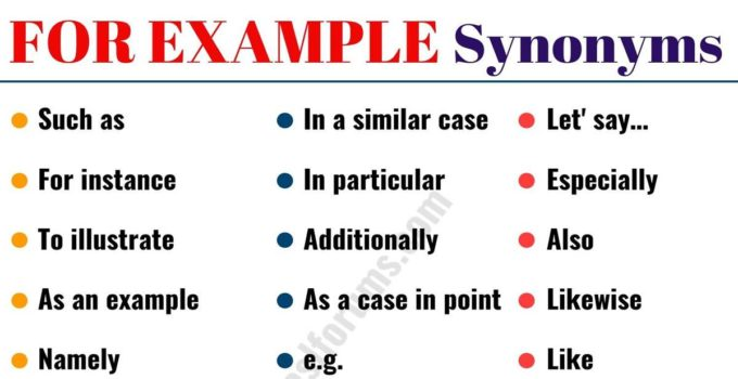 FOR EXAMPLE Synonym: 20 Useful Synonyms for FOR EXAMPLE with Examples 1