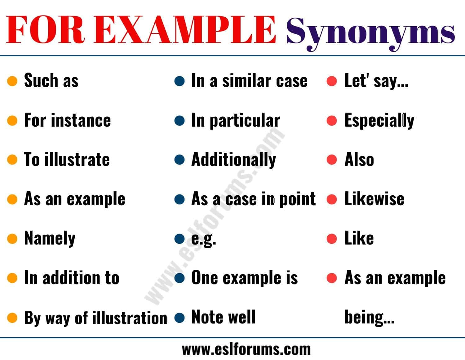 FOR EXAMPLE Synonym
