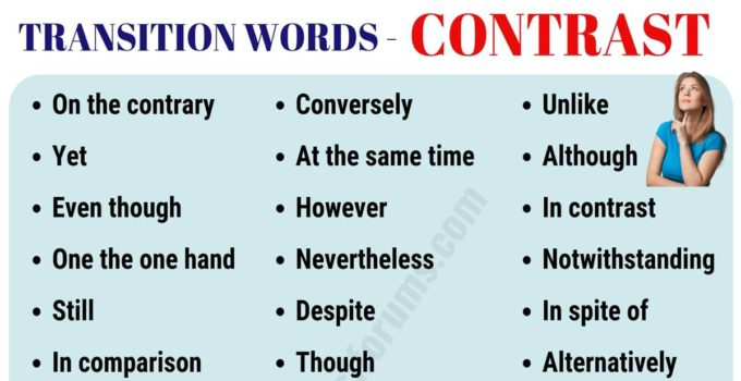 List of 30+ Useful Contrast Transition Words for Writing Essay 3