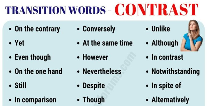 List of 30+ Useful Contrast Transition Words for Writing Essay 8