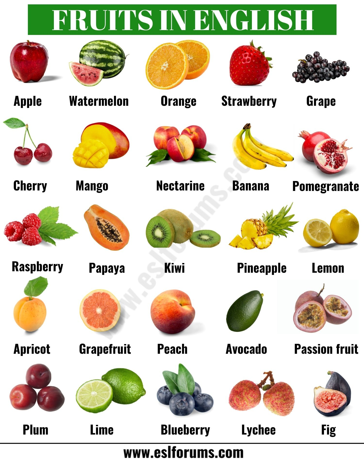 List of Fruits: Learn Common Names of Fruits in English
