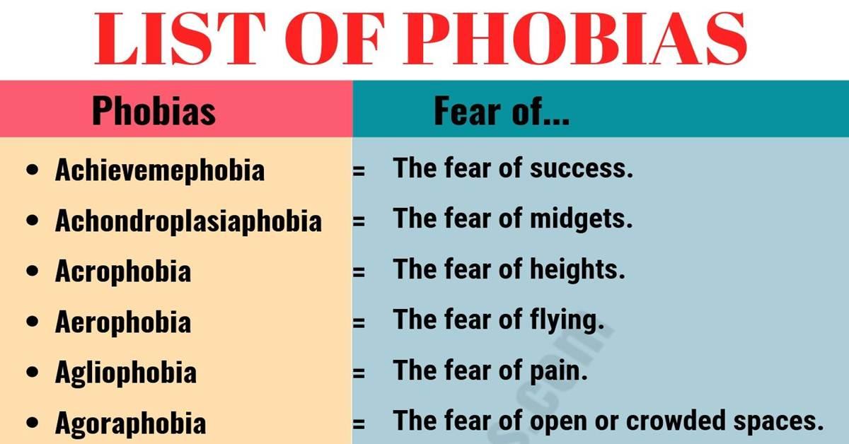 List of Phobias: Learn 105 Common Phobias of People around the World 1