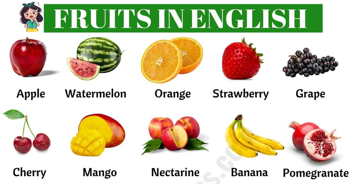 List Of Fruits: Learn Common Fruit Names In English