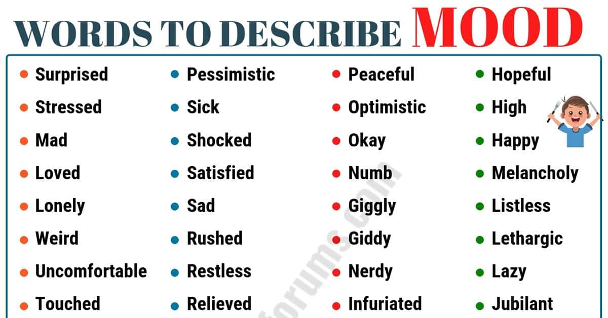 MOOD Words: List of 120+ Useful Words to Describe Mood in English 1
