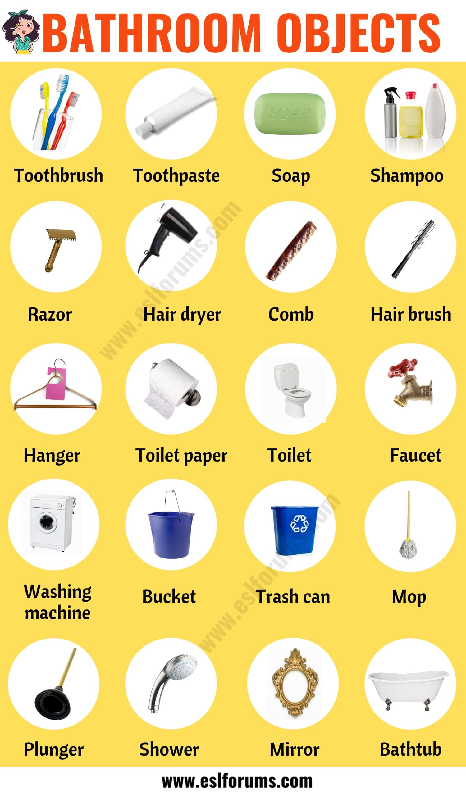 Bathroom Accessories: List of Helpful Items in the Bathroom with ESL Picture