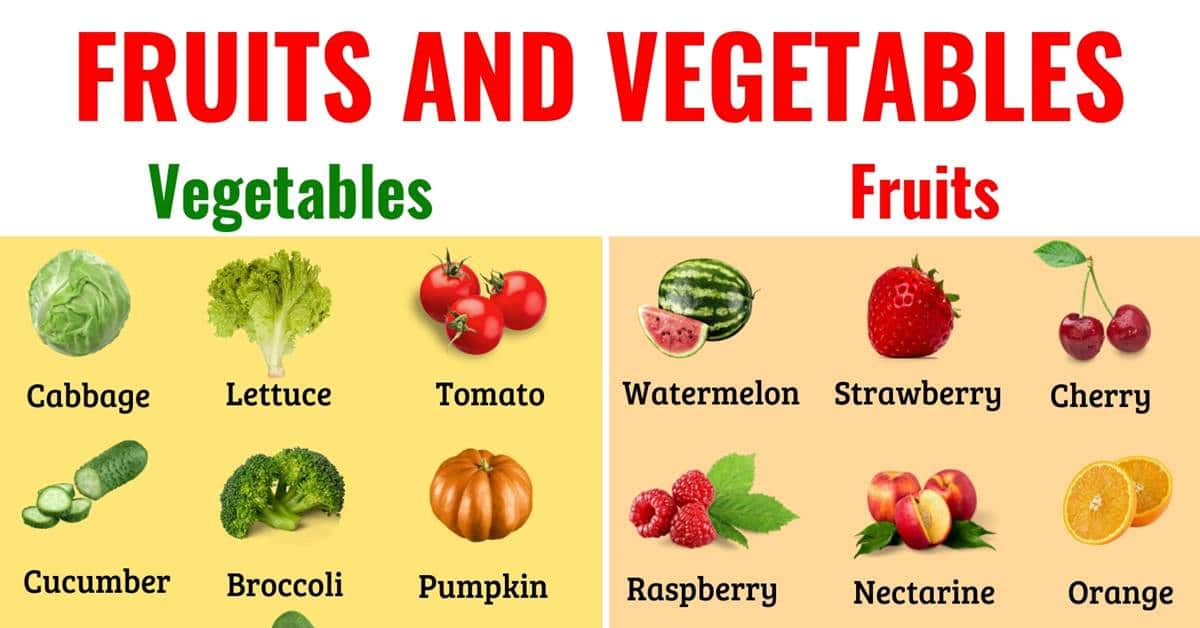Fruits and Vegetables: Names of Vegetables and Fruits in English with ESL Picture 1