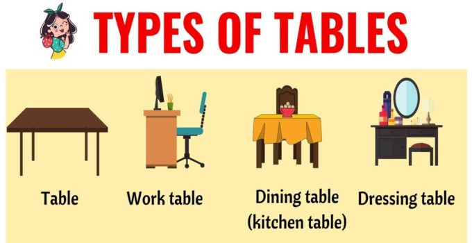 Types of Tables: 25+ Different Types of Tables in English 49