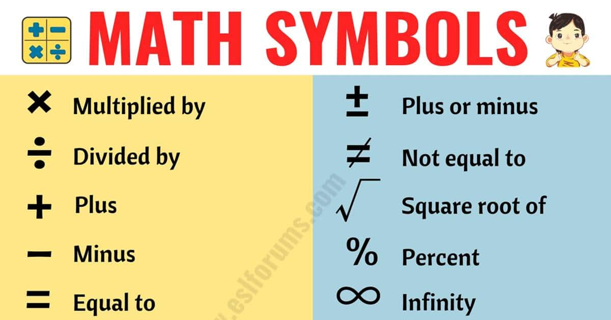 Math Symbols: List of 35+ Useful Mathematical Symbols and their Names 1