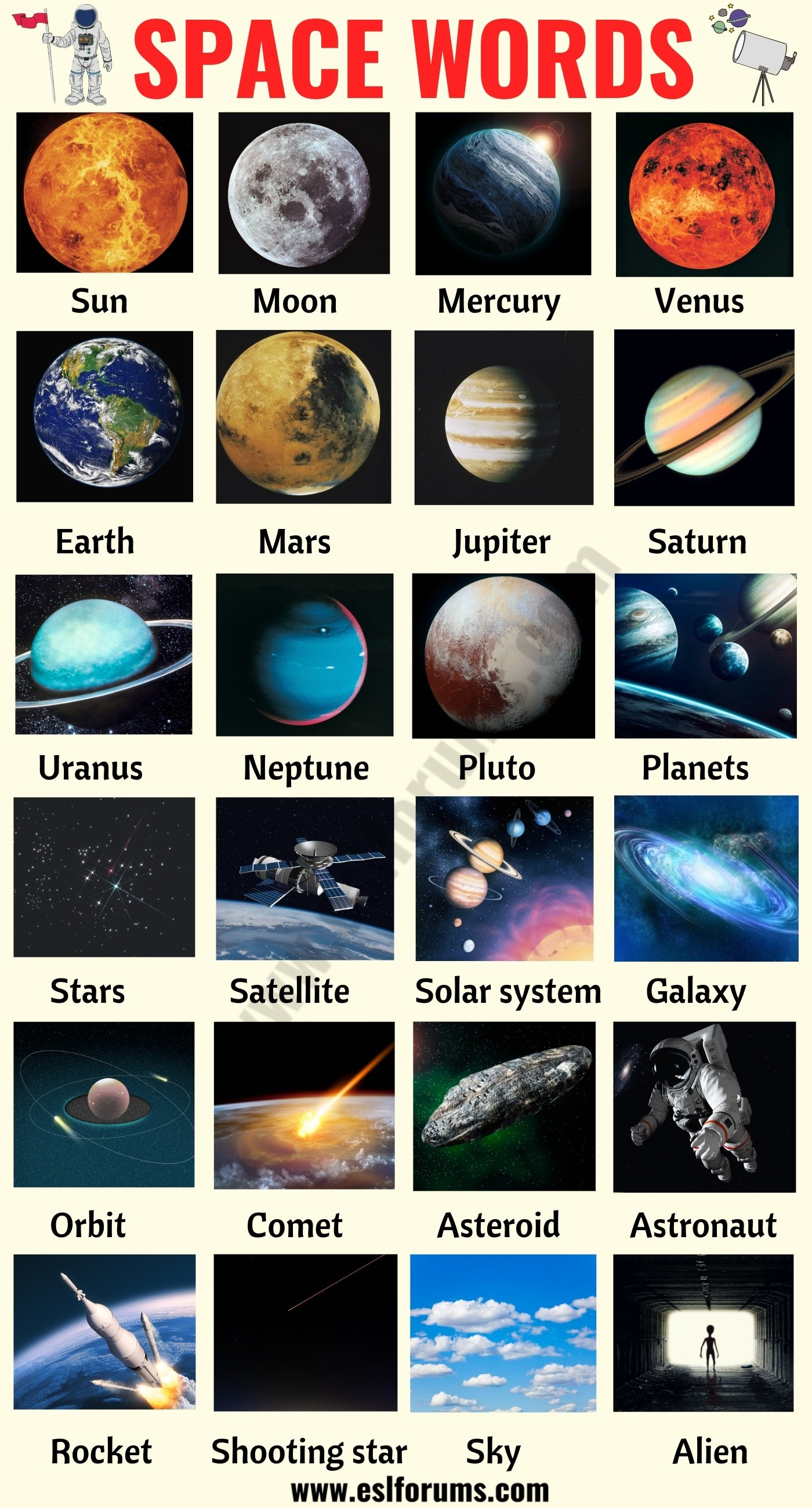 Space Words: List of 40+ Interesting Words Related to the Space