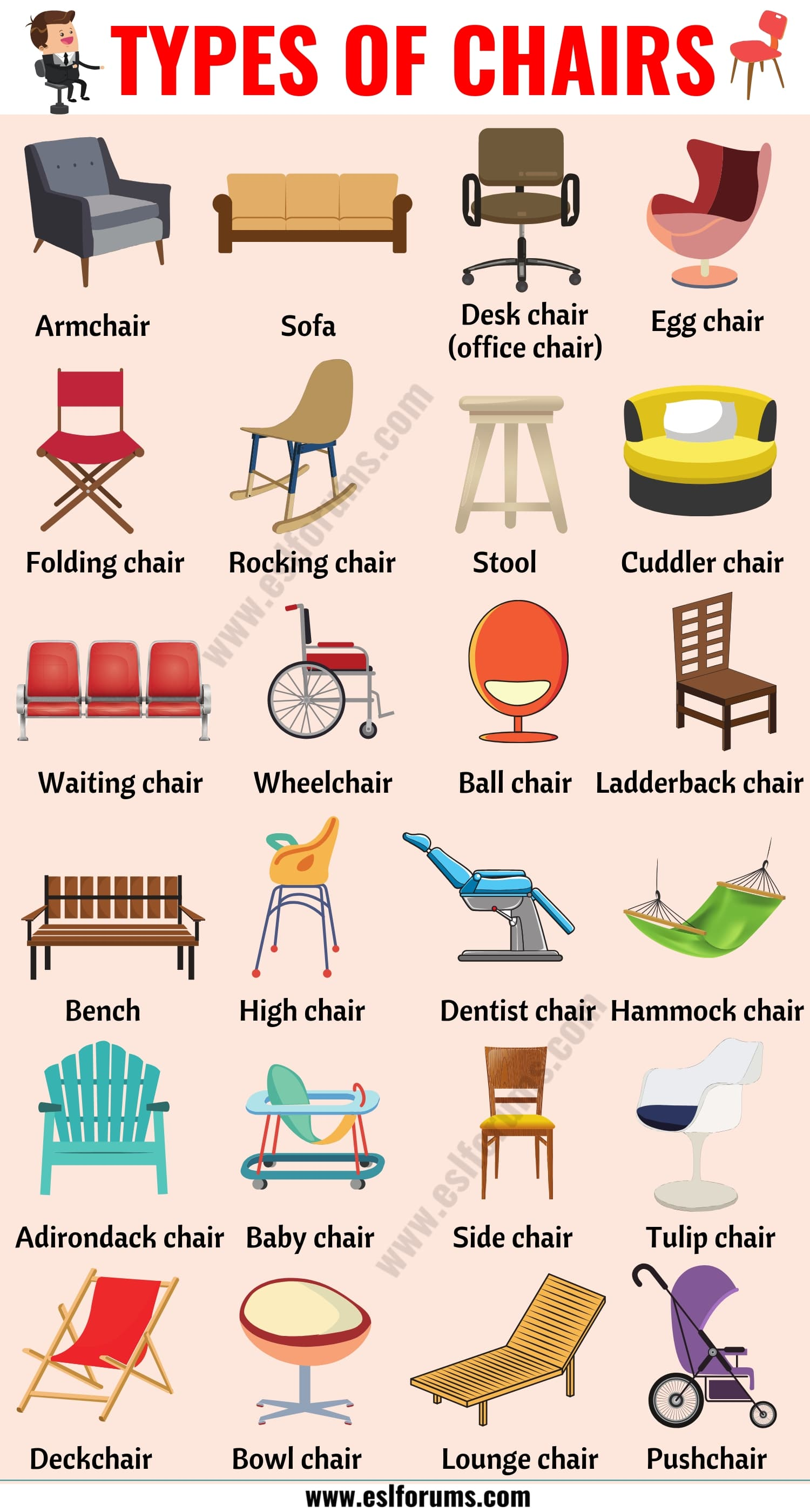 Types of Chairs: 25 Different Chair Styles with ESL Pictures