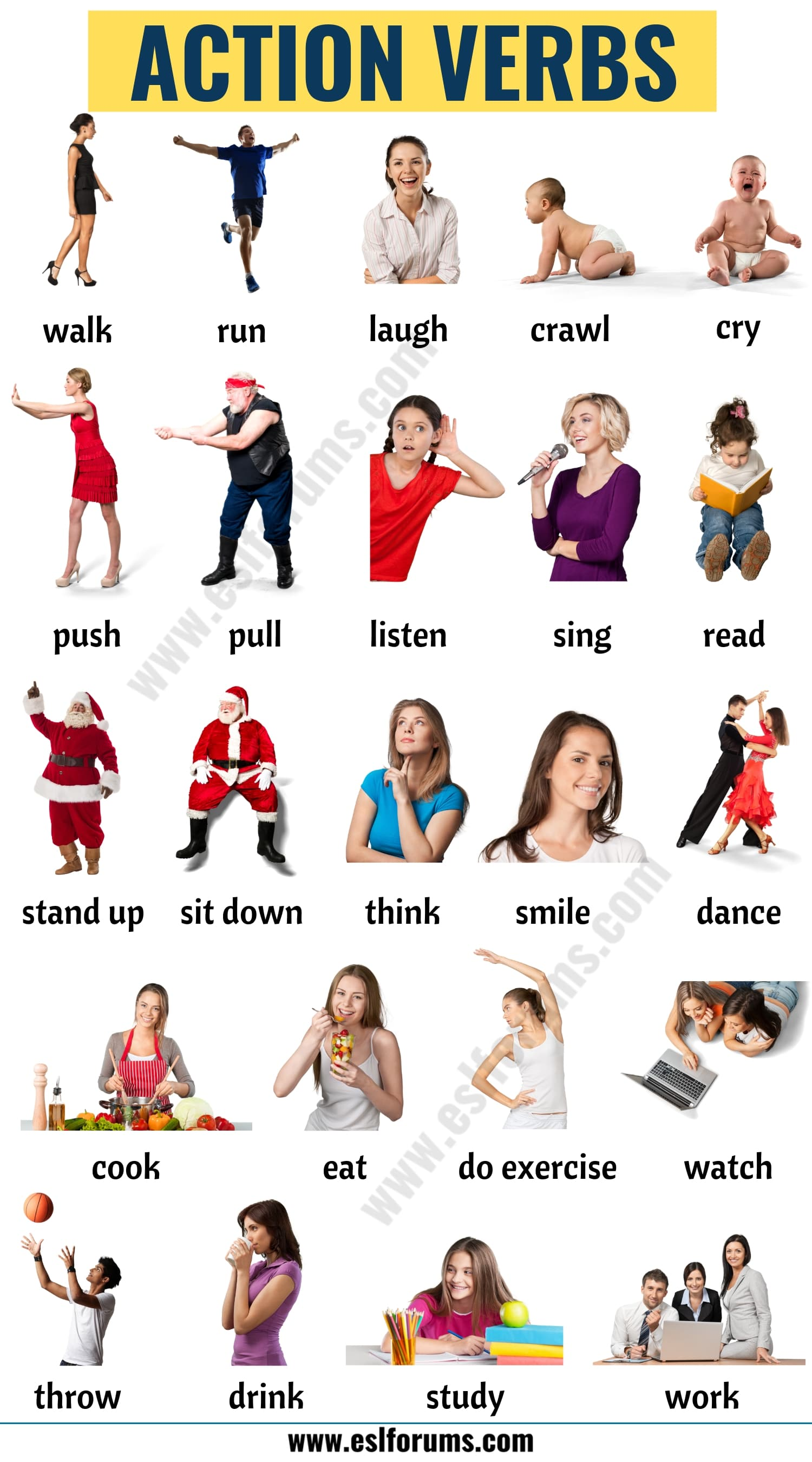 List of Verbs: Learn 600+ Common Verbs in English with ESL Pictures 5