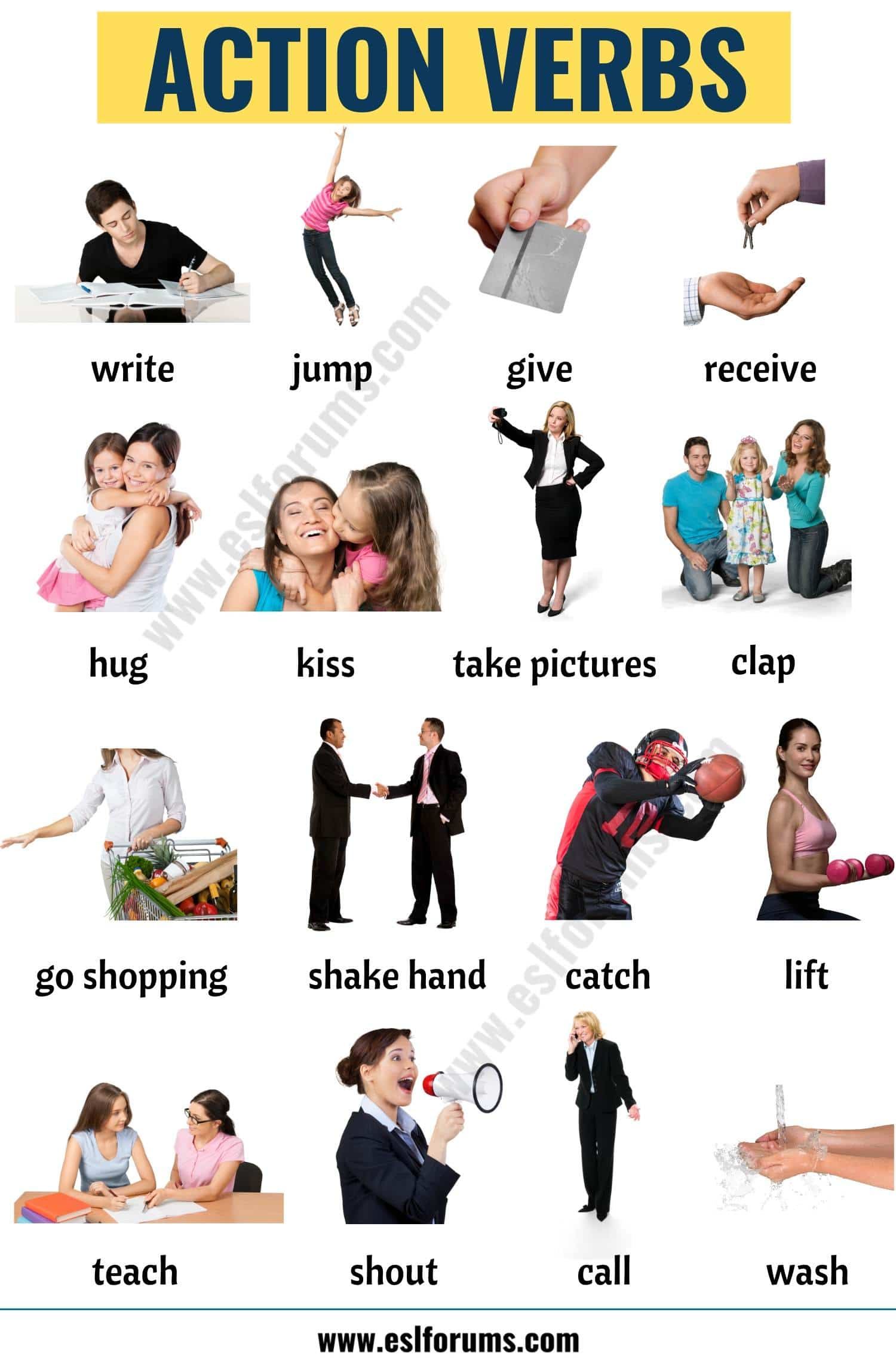Action Verbs: List of 50+ Useful Action Words with the Pictures!